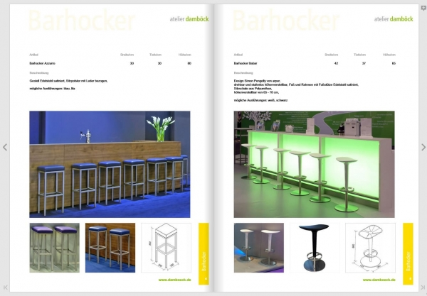 atelier damböck's trade fair furniture catalogue